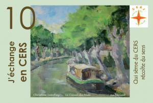 """Bon d'échange de 5 CERS illustré par Christine Sanchez : """"Le Canal du Midi, au Somail"""""""